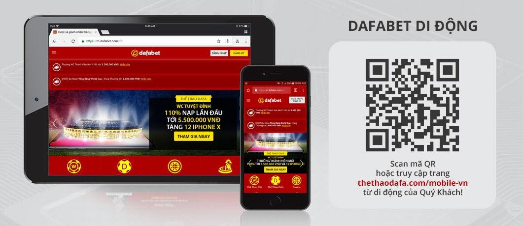 Scan mã QR để cài Dafabet Mobile trên di động